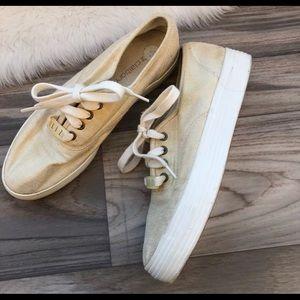 Vintage Liz Claiborne gold platform sneaker